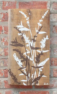 Reclaimed Barn Wood Flowers wall hanging. Hand printed art by Philip Sachs in Brooklyn, NY.