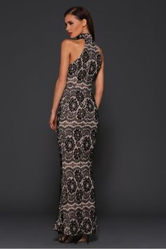 Gorgeous black lace gown with nude lining.
