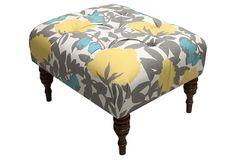 Boyd Tufted Ottoman, Yellow Peony on OneKingsLane.com