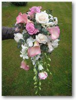 Pink and White Roses Teardrop bouquet.