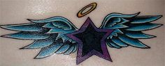 Cross with Angel Wing and Halo Tattoo Designs | sweet tattoo design: a purple and black star with blue angel wings ...
