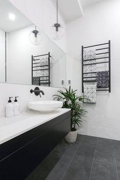 The block 2016 - week 3 main bathroom reveals new house ideas inside bathro Bathroom Renos, Bathroom Flooring, Bathroom Renovations, Small Bathroom, Bathroom Makeovers, Bathroom Cabinets, Bathroom Tiling, Decorating Bathrooms, Bathroom Bin