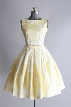 RESERVED...Vintage 1950s Dress / 50s Party Dress / Yellow and White Floral Lace…