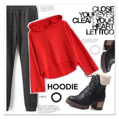 """Red Hoodie"" by mycherryblossom ❤ liked on Polyvore featuring M&Co"