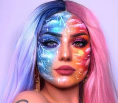 My two moods illustrated lol Lightning side inspired by sister __________ Product deets: (Annonse: Sponsored marked*) Bold Makeup Looks, Edgy Makeup, Eye Makeup Art, Clown Makeup, Crazy Makeup, Cute Makeup, Eyeshadow Makeup, Cool Halloween Makeup, Girl Halloween