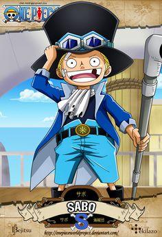 One Piece - Sabo es el Oficial General del Ejército Revolucionario, donde ostenta la posición de segundo al mando de la organización[1], por lo que su único superior es Monkey D. Dragon. Fue el hermano adoptivo de Monkey D. Luffy y Portgas D. Ace, así como el hijo de Outlook III.