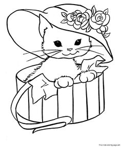 related pictures cute cats coloring pages kitten car pictures - Coloring Pages Kittens 2