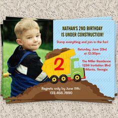 Dump Truck Birthday Photo Invitation  by InvitationBlvd on Etsy, $10.00