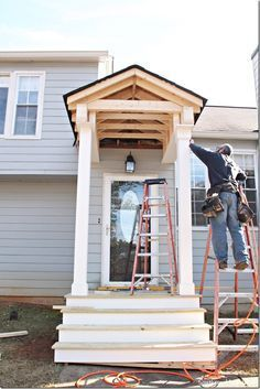 Building a Front Portico & roof over front door entrance | Bungalow Restoration: Side door ... Pezcame.Com