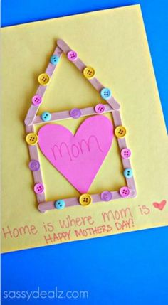 """""""Home is where Mom is"""" Mother's Day Popsicle stick craft Mother's Day Crafts for Kids: Preschool, Elementary and More on Frugal Coupon Living. Mother's Day Crafts for Kids: Mother's Day Preschool Ideas, Elementary Ideas and More on Frugal Coupon Living. Easy Mother's Day Crafts, Mothers Day Crafts For Kids, Fathers Day Crafts, Crafts For Kids To Make, Mothers Day Cards, Kids Crafts, Art For Kids, Best Mothers Day Gifts, Daycare Crafts"""