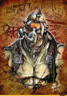 Borderlands 2 Krieg art by Hierodulai Krieg Borderlands, Borderlands Tattoo, Borderlands Series, Tales From The Borderlands, Borderlands Maya, Video Game Art, Video Games, Bioshock, Best Games