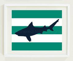 Nautical Striped Shark Art Print for Nursery, Kids Room or Home Decor - - Navy and Teal OR Choose your own colors Shark Room, Big Boy Bedrooms, Shark Art, Shark Week, Little Boys, Nautical, Kids Room, Moose Art, Nursery