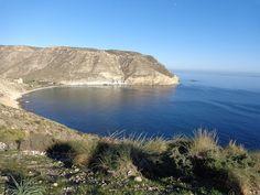 """Almería, Níjar, Las Negras, Cala de San Pedro.    36° 54' 1.70"""" N  1° 59' 9.92"""" W.  Cortesía de José Ángel de la Peca."""