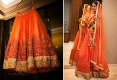A beautiful Amber color net Lehenga with Orange embroidery and a Gold border & sequence from Asiana Couture for Bride Aalika Banerji of WeddingSutra. Photos Courtesy- Photosynthesis by Aditi Anarkali Lehenga, Patiala Salwar, Indian Bridal Lehenga, Indian Bridal Fashion, Orange Lehnga, Bridal Outfits, Bridal Dresses, Desi Bride, Indian Designer Outfits
