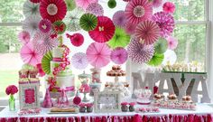 Pink & Green Sweet Table -- cute for a baby shower or a super girly party
