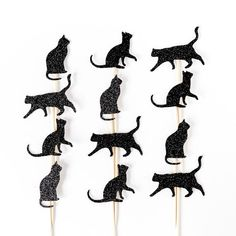 Cat cupcake toppers. Party decorations. Black. by InspiredbyAlma