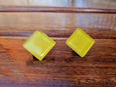 Rhombus Stud Earrings Rhombus Earrings Glass yellow Stud