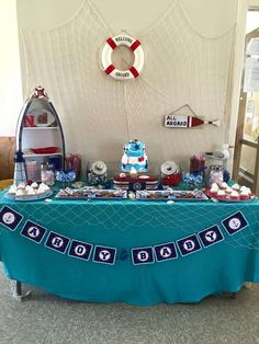 Dessert table at a nautical baby shower party! See more party planning ideas at CatchMyParty.com!
