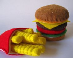 Felt Food Hamburger french fries & chicken by FeltFoodTruck