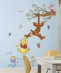 Little sweeties can decorate their room with this Winnie the Pooh wall decal. It's completely removable and reusable so it can be repositioned in any Pooh-themed room again and again without damaging the walls.