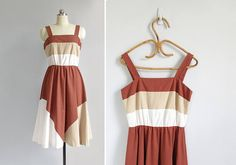 vintage 70s striped cotton sundress / s