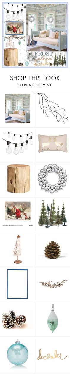"""Frost & Wood December"" by loveartrecyclekardstock ❤ liked on Polyvore featuring interior, interiors, interior design, home, home decor, interior decorating, Wall Pops!, Kurt Adler, Crate and Barrel and Thro"