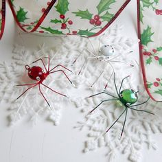 Small  Spiders Red Green and White Spiders by SpiderwoodHollow