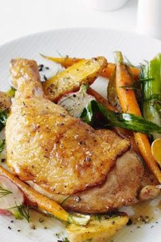 Roast Chicken with Spring Vegetables | This is an absolute staple in my house. It is easy to make and turns out delicious every time.
