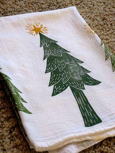 Christmas Kitchen Towel block print christmas trees by jessnielsen, $15.00