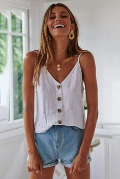 Chantal Buttoned Cami Top, The Effective Pictures We Offer You About summer outfit Cool Summer Outfits, Summer Outfits Women, Trendy Outfits, Spring Outfits, Summer Clothes, Womens Fashion Casual Summer, White Top Outfit Summer, Outfits For Girls, Fall Fashion
