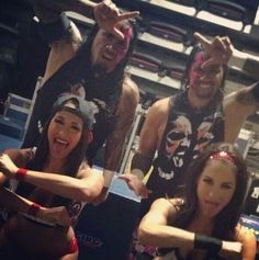 The Usos (Jey left, Jimmy right) and The Bella Twins (Nikki left, Brie right)