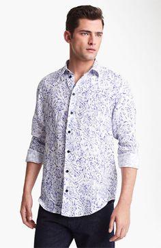 Armani Collezioni Floral Print Linen Sport Shirt | Nordstrom