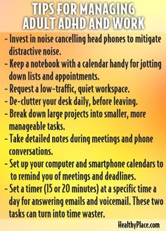 """""""Learn about ADD at work, the problems faced by adults with ADHD at work, and proven strategies for managing adult ADD at work."""" http://www.HealthyPlace.com"""