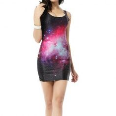 $13.58 Low-Cut Red Starry Sky Pattern Beam Waist Packet Buttock Nylon Color Matching Dress For Women