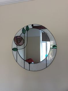 Our Mackintosh Rose gorgeous mirror from Filey Stained Glass Centre, survived two moves and storage