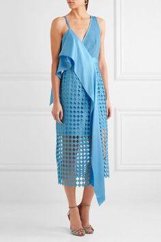 Diane von Furstenberg - Ruffled Crepe De Chine And Lace Wrap Dress - Blue