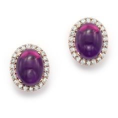 Amethyst Cabochon and Diamond Earrings in 14K Rose Gold ($1,000) ❤ liked on Polyvore featuring jewelry, earrings, 14k rose gold jewelry, 14 karat gold earrings, cabochon earrings, 14k earrings and bloomingdales jewelry
