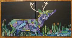"""Mosaic Deer- 24x12"""" by SG Criswell (sold to CY)"""