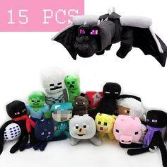 "New Minecraft Plush Toy Dolls 15 Styles 24"" Dragon Bat Wolf Sketelon Creeper #Handmade"