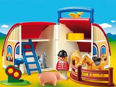 Your little one will have fun tending to the pig and horse with the Take Along Barn with Animals by Playmobil. Open the case up to reveal a barn with storage space, animals, and more. Toddler Toys, Baby Toys, Kids Toys, Toys R Us, Playmobil Toys, Science Toys, Indoor Activities For Kids, Preschool Toys, Pet Beds
