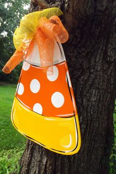 Candy Corn Door Hanger Halloween Door hanger by BluePickleDesigns