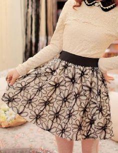 Black & White Floral Skirt - Glitzx