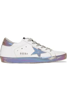 Golden Goose Deluxe Brand - Super Star Iridescent-paneled Distressed Leather Sneakers - White