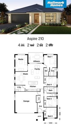The Aspire 210 is perfect for entertaining. The large, open plan family and meals areas flow off the gourmet kitchen with feature island bench. A separate media room and four bedrooms give everyone in the family plenty of space to move around.