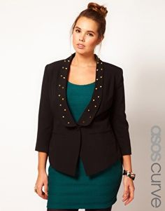 Enlarge ASOS CURVE Exclusive Blazer With Studs (no one will dare touch your baby bump for fear you'll stab them with your jacket!)