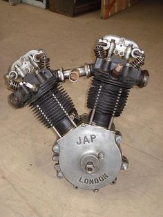 A JAP overhead-valve V-twin motorcycle engine dating from V Engine, Motor Engine, Motorcycle Engine, Vintage Bikes, Vintage Motorcycles, Cars And Motorcycles, Race Engines, Chopper Motorcycle, Easy Rider