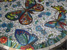 Butterflies Mosaic Table: detail