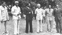 Sam Nujomo of SWAPO, Pres. Kenneth Kuanda of Zambia, Pres. Samora Machel, Mozambique, Pres. Julius Nyerere, Pres. Robert Mugabe and Pres. Jose Eduardo dos Santos of Angola.