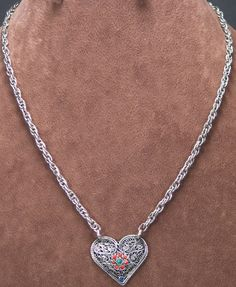 "20 ¼"" Silver Chain w/Tibetan Silver Heart Necklace  marybeth-hcj.com"