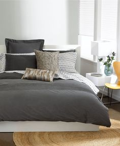 Bar lll Pleated Twin Comforter Cover garment wash charcoal grey, maybe with salmon or yellow sheets Dark Grey Bedding, Grey Comforter, Comforter Cover, Bed Duvet Covers, Teen Boy Bedding, Blue Bedroom, Master Bedroom, White Rooms, Bedding Collections